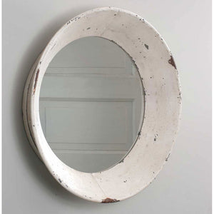 Antique White Distressed Round Farmhouse Mirror - Hen & Tilly