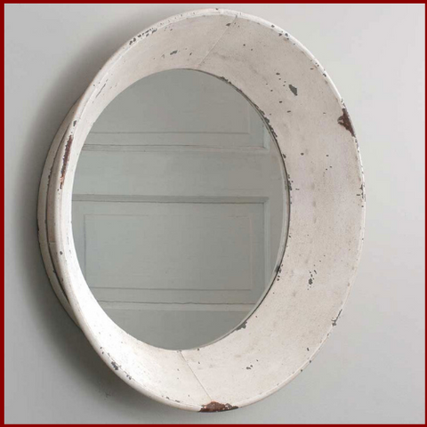 Image of Antique White Distressed Round Farmhouse Mirror - Hen & Tilly Farmhouse Sinks
