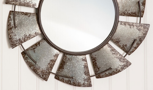 Large Distressed Galvanized Windmill Mirror - Hen & Tilly Farmhouse Sinks