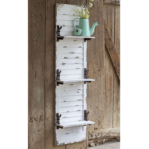 Image of Distressed White Window Shutter Hanging Shelf - Hen & Tilly Farmhouse Sinks