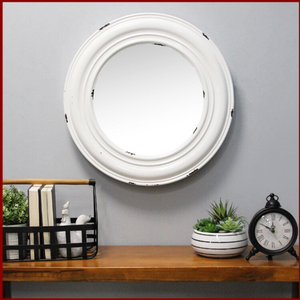 White Priscilla Distressed Wall Mirror - Hen & Tilly