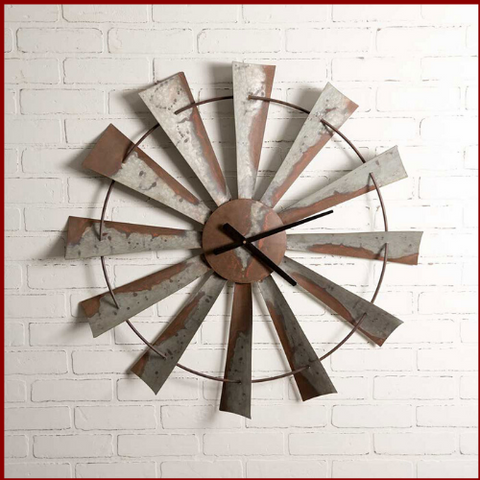 Rustic Windmill Galvanized Wall Clock - Hen & Tilly Farmhouse Sinks