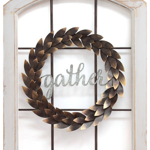 """Gather"" Window and Wreath Wall Decor - Hen & Tilly Farmhouse Sinks"