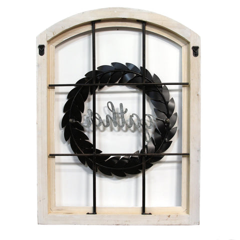 "Image of ""Gather"" Window and Wreath Wall Decor - Hen & Tilly Farmhouse Sinks"