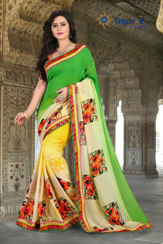 Green-Yellow Poly Viscose Daily Wear Saree With Blouse