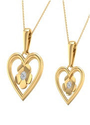 Heart / flower 14 Karat Yellow Gold Charm Pendant with Soulmate Diamonds (0.81 CT.  T.W)