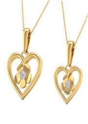 Heart / flower 18 Karat Yellow Gold Charm Pendant with Soulmate Diamonds (0.81 CT.  T.W)
