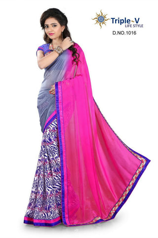 Purple-Pink Poly Viscose Daily Wear Saree With Blouse