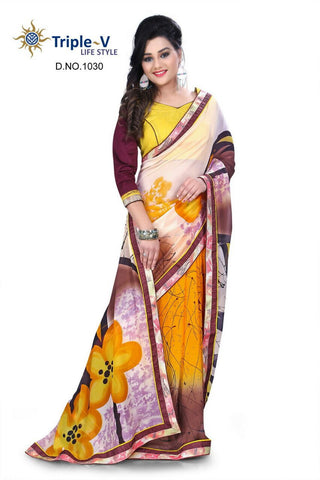 Yellow-Brown Poly Viscose Daily Wear Saree With Blouse