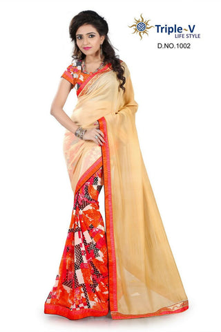 Cream-Orange Poly Viscose Daily Wear Saree With Blouse