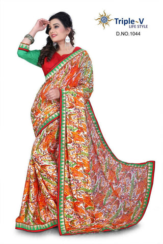 Multicolored Poly Viscose Daily Wear Saree With Blouse