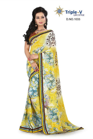 Yellow Poly Viscose Daily Wear Saree With Blouse