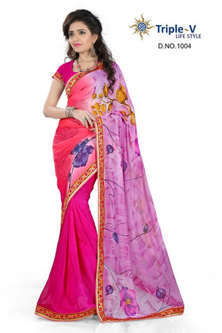 Dark Pink Poly Viscose Daily Wear Saree With Blouse