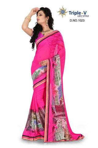 Pink Poly Viscose Daily Wear Saree With Blouse