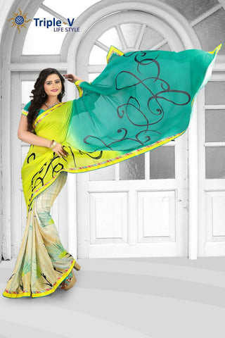 Yellow-Green Poly Viscose Daily Wear Saree With Blouse