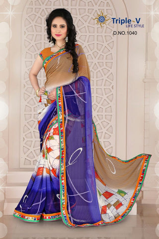 Purple-Brown Poly Viscose Daily Wear Saree With Blouse