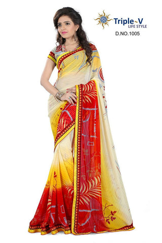 Cream-Red Poly Viscose Daily Wear Saree With Blouse