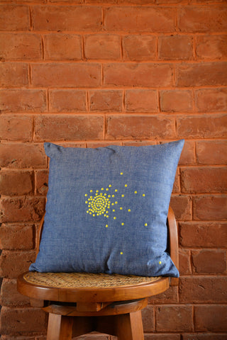 Blue Embroidered Cotton Cushion Cover