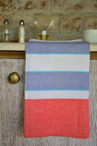 Blue & Orange Broad Striped Kitchen Towel