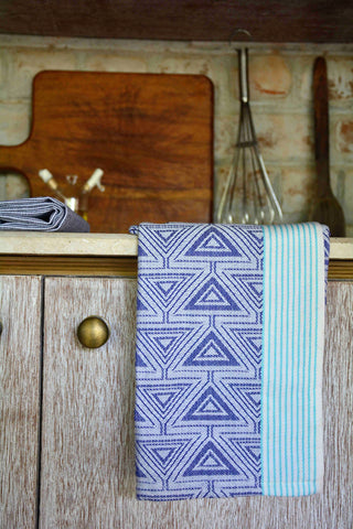 Blue Printed Kitchen Towel with Green Striped Border