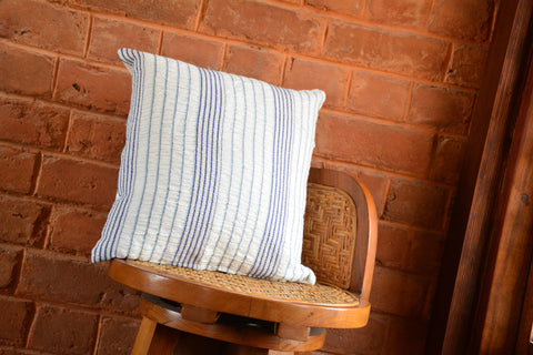 Blue Striped White Textured Cotton Cushion Cover