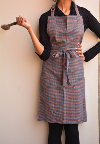 Brown Micro-Checkered Cotton Apron