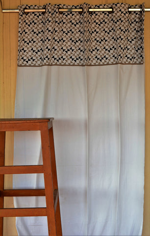Cream Printed Header Curtain