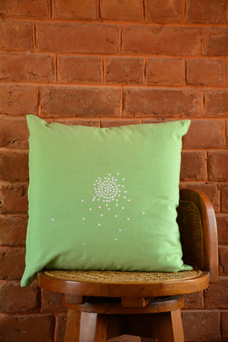 Green Embroidered Cotton Cushion Cover