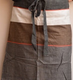 Grey Broad Striped Cotton Apron