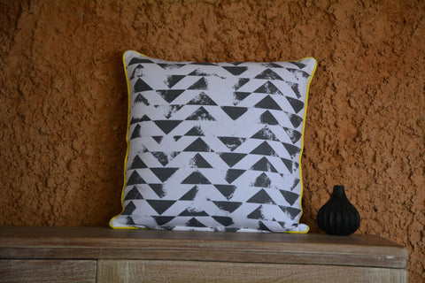 Grey & White Printed with Yellow Cord Piping Cotton Cushion Cover