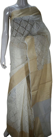 White Designer Banarasi Silk Saree With Zari Border