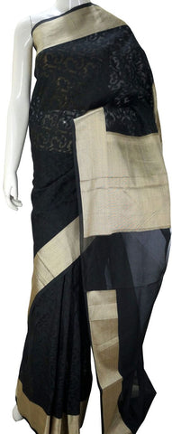 Black Designer Banarasi Silk Saree with Zari Border