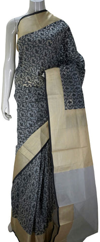 Black Designer Banarasi Silk Saree With Thread Butta & Zari Border