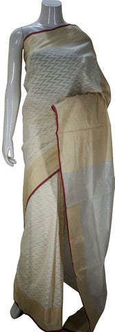 Cream Designer Banarasi Silk Saree With Zari Border