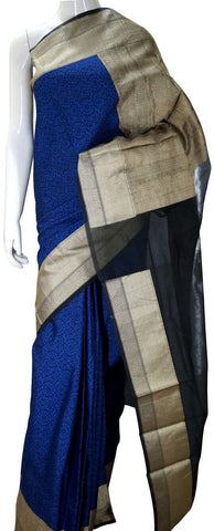 Blue Designer Banarasi Silk Saree With Zari Border