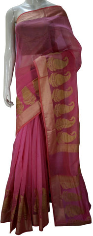 Pink Banaras Silk Saree With Zari border