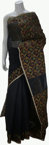 Black Banarasi Silk Saree With Floral Zari Border