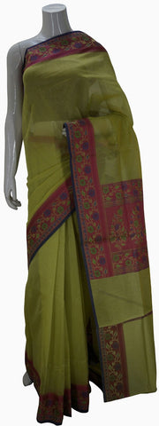 Green Banarasi Silk Saree With Floral Border