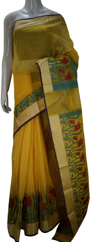 Yellow Banarasi Silk Saree With Floral Zari Border