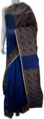 Blue Banarasi Silk Saree With Floral Zari Border