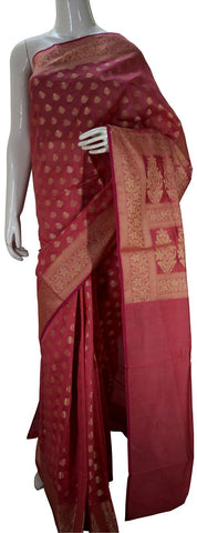Dark Pink Designer Banarasi Silk Saree With Zari Butta & Zari Border