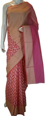 Pink Designer Banarasi Silk Saree With Zari Butta & Border