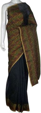 Black Banarasi Silk Saree With Zari Border