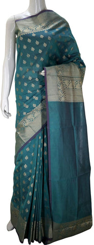 Green Designer Banarasi Silk Saree With Zari Butta & Zari Border