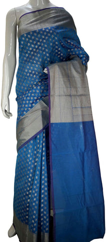 Blue Designer Banarasi Silk Saree With Zari Butta & Zari Border