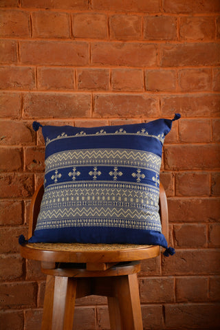 Blue Jacquard Woven Cotton Cushion Cover