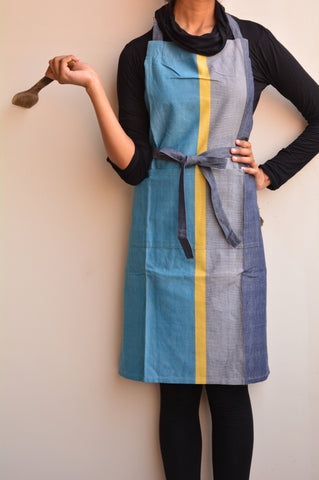 Multi Colored Asymmetric Striped Woven Apron