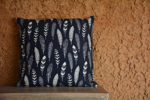 Navy Blue Feather Printed Cotton Cushion Cover