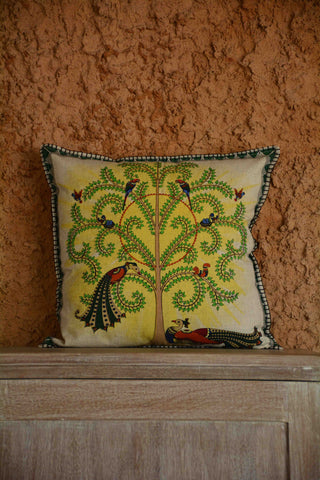 Peacock Embroidery Linen Cushion Cover