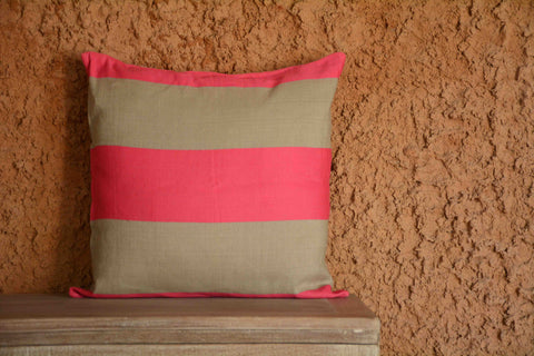 Pink & Brown Satin Striped Linen Cushion Cover